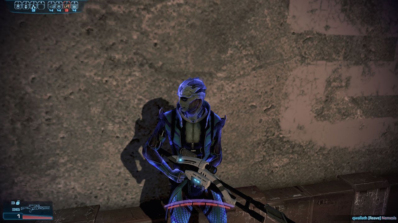 My Drell sniper hiding behind a wall, glowing with biotic energy.