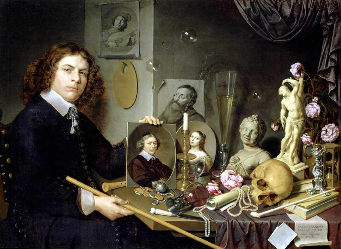 David Bailley, 'Self Portrait with Vanitas Symbols', 1651.