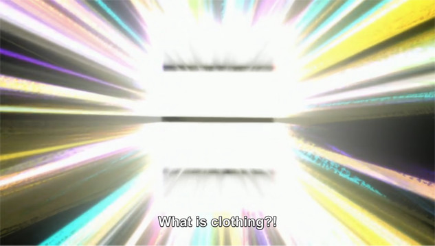 "A screenshot shows brilliant beams of light and an unidentifiable shape. A voice says, ""What is clothing?!"""