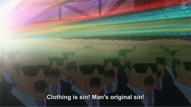 "A screenshot shows rainbow light passing over a crowd of identical bald businessmen wearing sunglasses. The men say, ""Clothing is sin! Man's original sin!"""