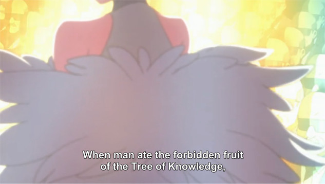 "A screenshot shows the back of Ragyo Kiryuin. She says, ""When man ate the forbidden fruit of the Tree of Knowledge,"""