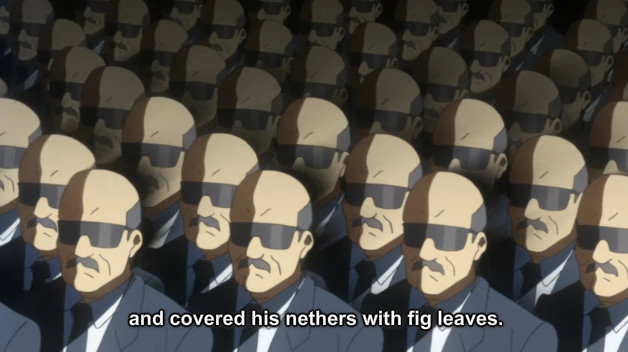 "A screenshot shows the businessmen listening to Ragyo as she continues her speech, saying, ""and covered his nethers with fig leaves."""