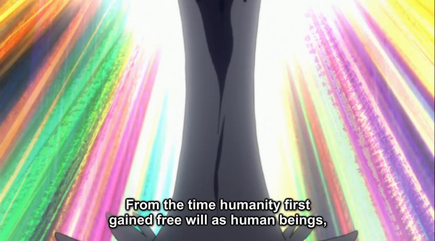 "A screenshot shows Ragyo's legs by a long, white dress. She says, ""From the time humanity first gained free will as human beings,"""