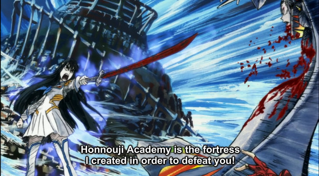 "A screenshot shows Satsuki pointing her bloody sword at Ragyo, who is pinned to a cross. She says, ""Honnouji Academy is the fortress I created in order to defeat you!"""