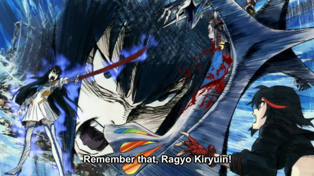 "A screenshot shows Satsuki pointing her bloody sword at Ragyo, who is pinned to a cross. She says, ""Remember that, Ragyo Kiryuin!"" Ryuko stares in shock."