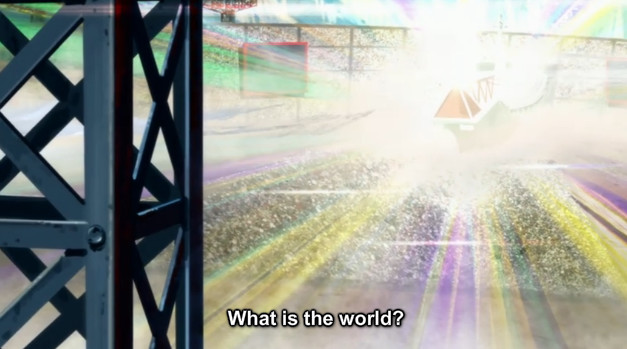 "A screenshot shows a crowded stadium as Ragyo speaks to the audience. She says, ""What is the world?"""