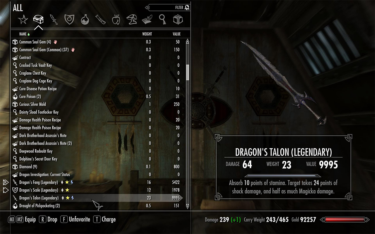 [Skyrim inventory screen]
