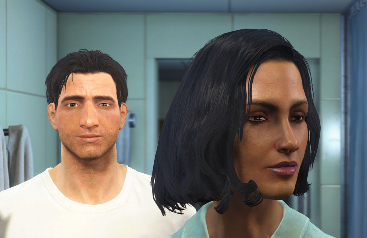 An interracial protagonist couple is no problem in Fallout 4.